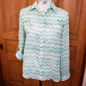 🎉 2/$20 Lime Blue Blouse, Small
